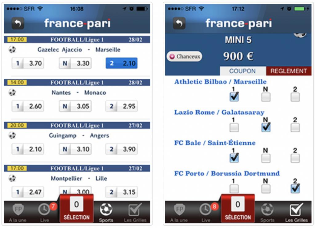App mobile France Pari toutes les infos